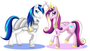 Princess Cadance and Shining Armor by xxMoonwish