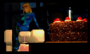 Zero Suit Samus loves cake by MrWhitefolks