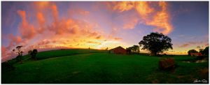 Sunset Barn Panorama by jaydoncabe