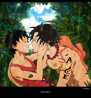 Ace and Luffy by Ndargen