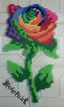 Rainbow Rose by PerlerPixie