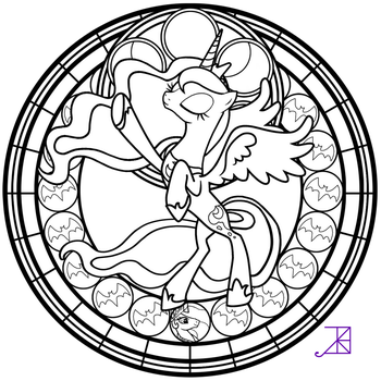 Stained Glass: Luna Season 2 -take 2- -line art- by Akili-Amethyst