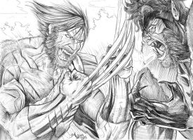 Wolverine VS. Sabertooth by jey2dworld
