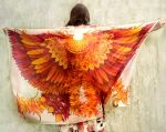 Firebird silk scarf - on Etsy by MinkuLul