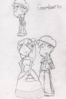 Lady Bow and Goombario Sketch by Deiji-Hime25