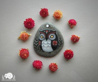 Amaranth Moon Folk Owl with Gold Eyes by JillHoffman