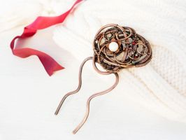 Christmas Star wire copper comb by UrsulaOT