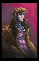 Gambit Pinup Shot colored by hanzozuken