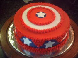 Captain America's Shield Cake by Sakura-Courage-Solo