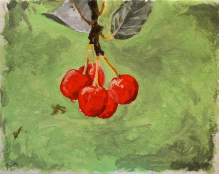 Cherries painting by LaFoi