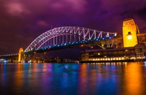 Sydney Harbour Bridge at night by Kalmatron