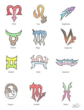 Colored Zodiac Single Signs by Wolfrunner6996
