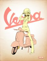 Vespa girl by AmeliaVidal