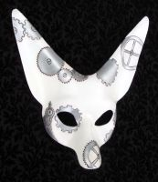 White Steampunk Fennec Mask by merimask