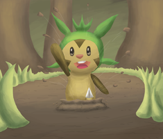 A Chespin appears by May-Lene
