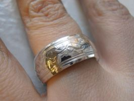 Engraved silver band by fairyfrog