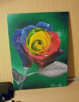 Rainbow rose by MetallerLucy