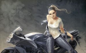 She and her Honda cbr 600 by Matariil