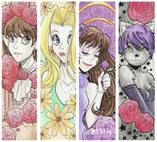 Watercolour Bookmarks - batch 02 by tea-bug