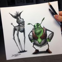 Creepyfied Shrek Drawing by AtomiccircuS
