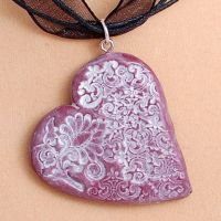 Vintage floral heart pendant by Mag-Dee
