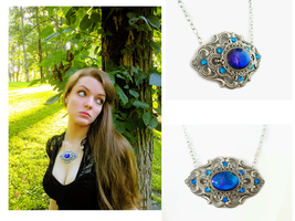 Jewel Encrusted Iridescent Blue Amulet by HoneyCatJewelry