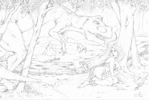 T-Rex Attacks Cavegirl by JesseThomas7800