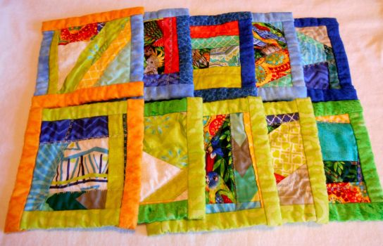 Beach Lover set of ten quilted coasters by ChaosFay