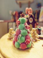 Christmas tree macaron tower 1/6 scale by LittlestSweetShop