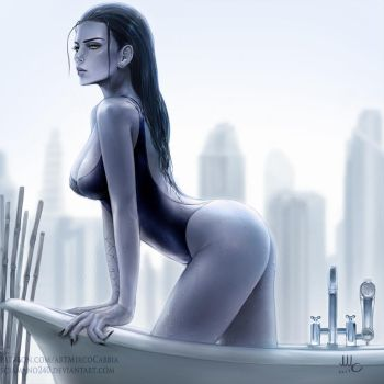 WIDOW coming out of a bath by AmericanoCoffee