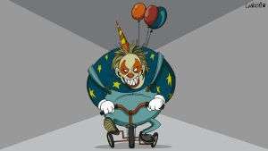 Evil clown rides in prison by AlexLandish