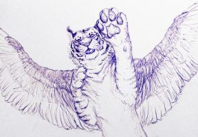 Winged Tiger- blue pen by ThundersCry