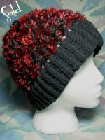 Red n' Black Feathered Hat by SmilingMoonCreations