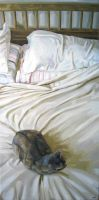 Cat On Bed by HeatherHorton