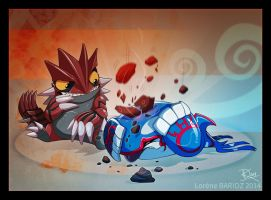 Kyogre vs Groudon by Dragibuz