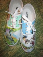 Calvin and Hobbes Shoes -both by inkspill94