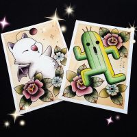 Moogle and Cactuar Tattoo Flash by Michelle Coffee by misscoffee