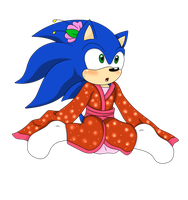 Zonic in a kimono by Blue-Zoner