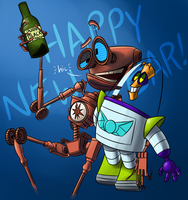 Two Drunk Robots on New Year's Eve by EarthGwee