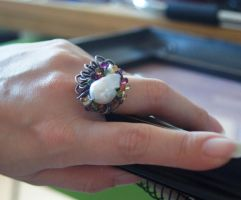Swells wirewrapped Pearl Ring by CrysallisCreations