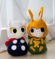 Loki and Thor Crochet by fruits-basket-head