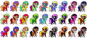 ..2 Point.. Pony Adoptables -1- +2 LEFT+ by Fluffle-Muffins