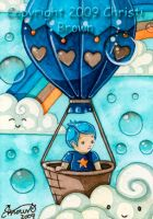 kawaii hot air balloon ACEO by candcfantasyart
