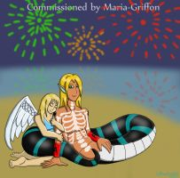 Maria-Griffon Commission - Seasonal romance by thesnakechild