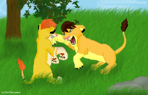 Brawl of cubs by M-WingedLioness