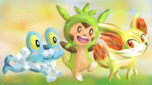 Pokemon Gen VI Starters by Fishenod