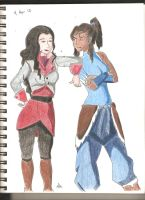 Asami and Korra by alas-is-kuwaii