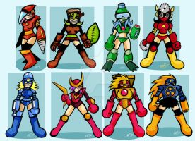 Megaman 2 Female robot masters by edbot5000