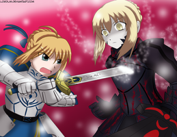 Saber Defeats Saber Alter by lordlim