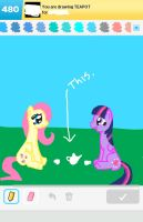 Draw Something: Fluttershy and Twilight Tea party by DerpyMadness